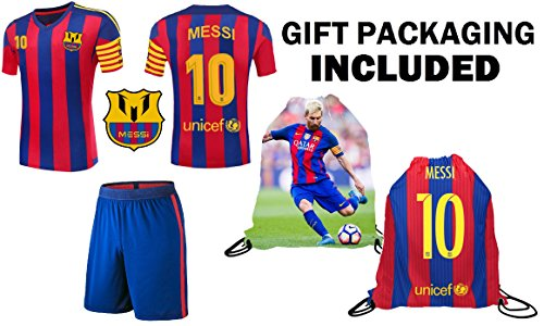 9e74c6c1c Lionel Messi  10 Barca Youth Kids Soccer Jersey ✓ Shorts ✓ Picture Bag ✓ ✓