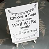 Church Seats Church Wedding Ceremony White Sign 'Choose a Seat' Sign And Easel