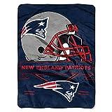 "NFL New England Patriots Prestige Plush Raschel Blanket, 60"" x 80"", Blue"