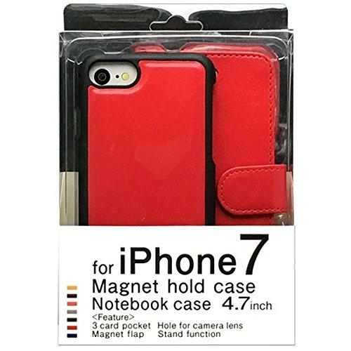 aa335cfdc8 Amazon.co.jp: iPhone7用手帳型ケース マグネットタイプ レッド BJMG-IP7RD: 家電・カメラ