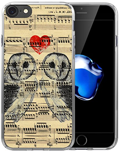 Vintage Cover - Case for iPhone 7 Owl/Case for iPhone 8/IWONE Designer Non Slip Rubber Durable Protective Replacement Skin Transparent Cover Shockproof Compatible for iPhone 7/8 Vintage Owl Print Design Animal
