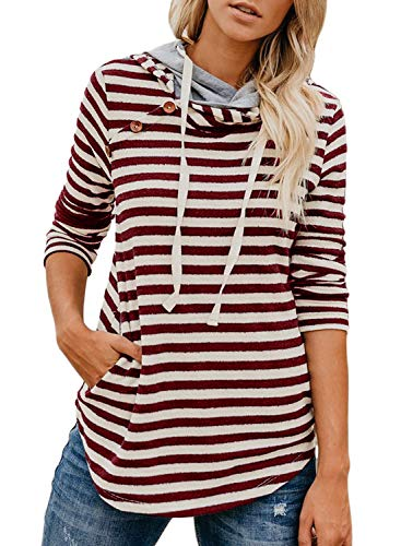 Dearlove Women's Striped Long Sleeve Double Hooded Sweatshirts Button Drawstring Pullover Hoodie Tops Casual Blouse with Pocket Red M 8 ()