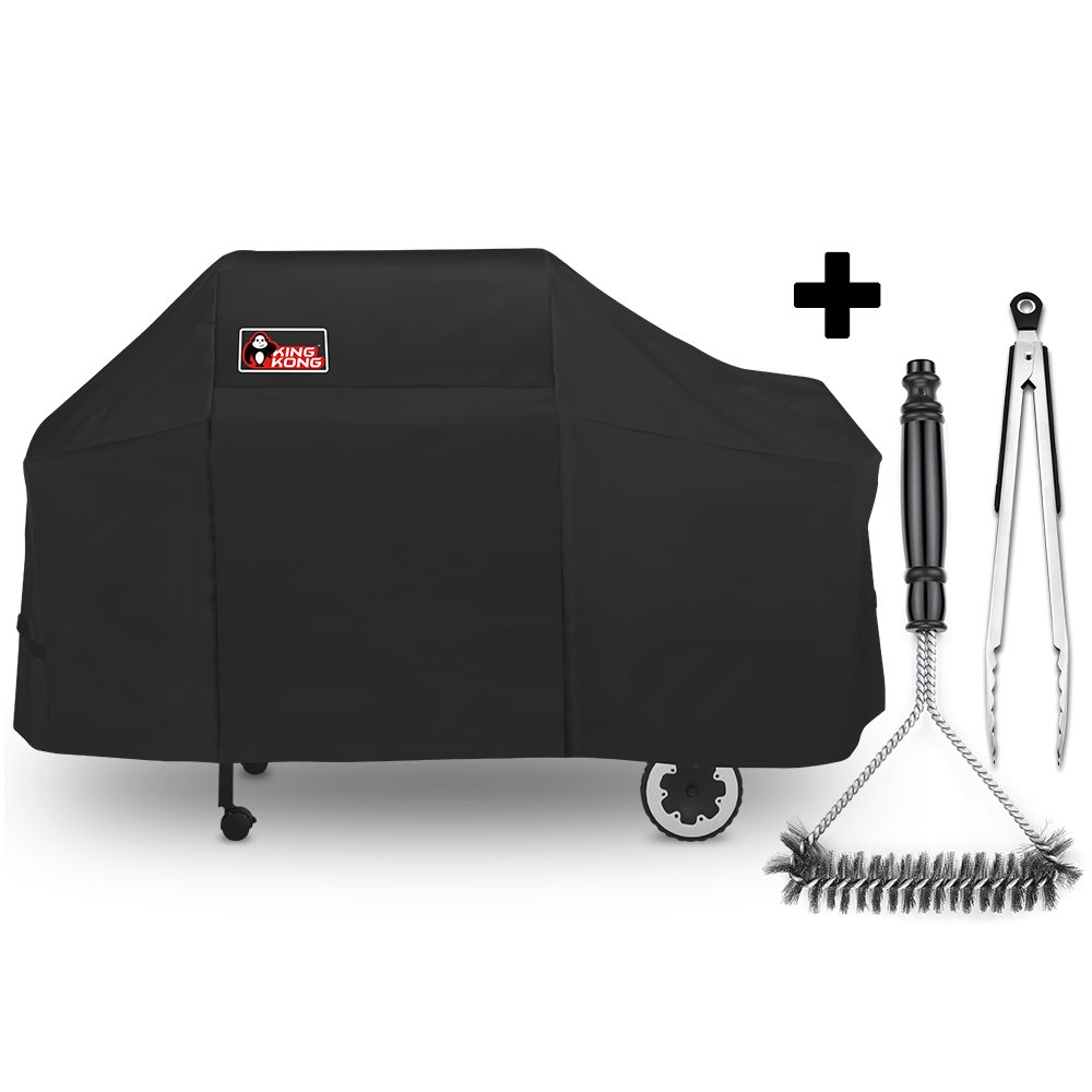 Kingkong 7552 Grill Cover for Weber Genesis Silver / Gold / 2000 - 5500 Gas Grills with Brush and Tongs by King Kong