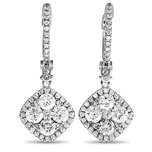 LB Exclusive 18K White Gold Full Diamond Square Dangle Hinged Snap Earrings