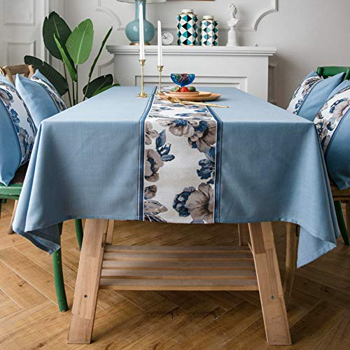 - ColorBird Stitching Embroidered Floral Tablecloth Heavy Weight Cotton Linen Dust-Proof Table Cover for Kitchen Dinning Party Summer Picnic Decoration (Square, 52 x 52 Inch, Blue)