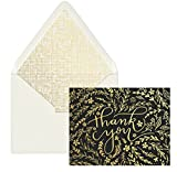 DesignWorks Ink 12-Count Boxed Blank Thank You Note Cards, Black & Gold Floral