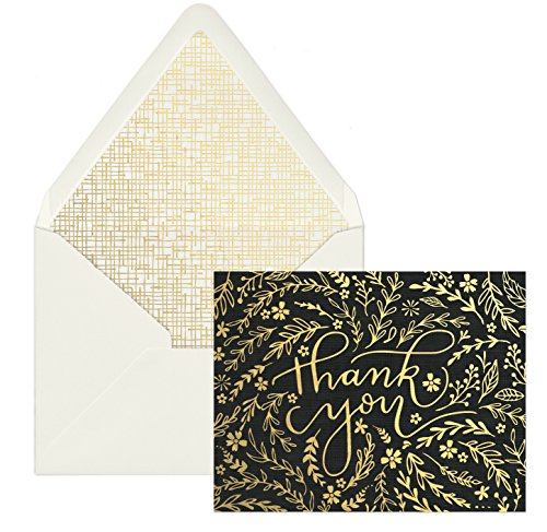 DesignWorks Ink 12-Count Boxed Blank Thank You Note Cards, Black & Gold Floral by Paddywax