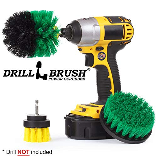 3 Rotary Power Scrub Brushes for Tile, Grout, Shower, Tub, Sink Hard Water Stains by Drillbrush