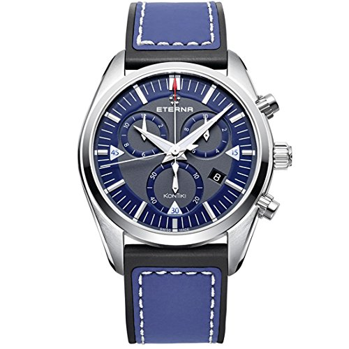 Eterna KonTiki 1250.41.81.1303 42mm Stainless Steel Case Blue Calfskin Anti-Reflective Sapphire Men's Watch