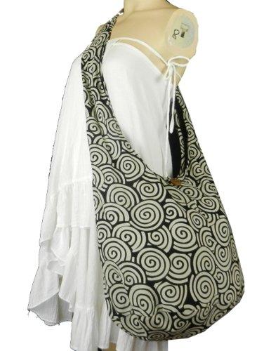 Cotton Printed Crossbody SW4 Swirl BTP Bag Sling Hippie Hobo in on White Black Messenger Purse wBIEzpqIx