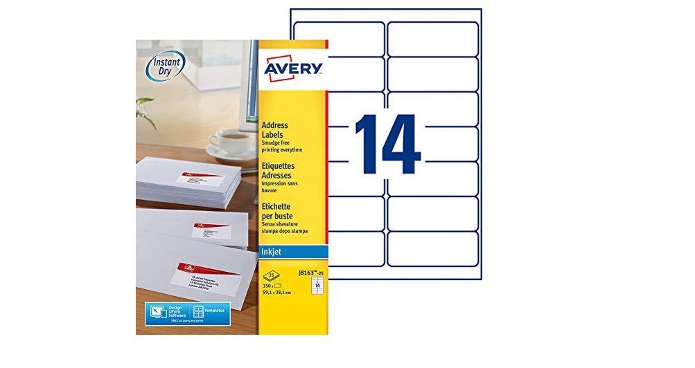 AVERY J8163-100 INKJET PRINTER LABELS 14 PER A4 SHEET