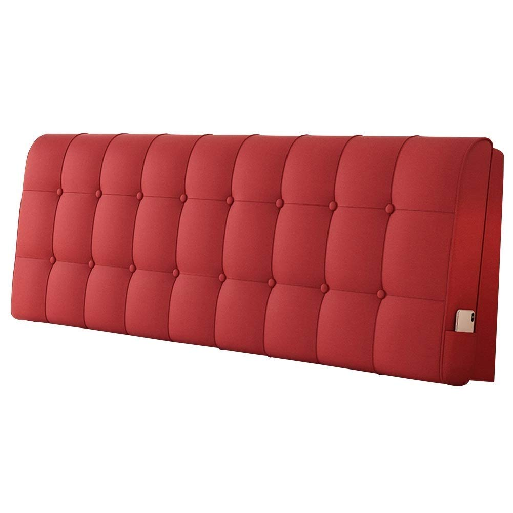 Lil Solid Color Waistboard Headboard Cushion, No Bed Backrest Soft Pack Double Bed Pillow Tatami Simple (Color : Red)
