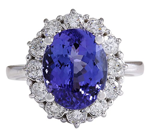 6.1 Carat Natural Blue Tanzanite and Diamond (F-G Color, VS1-VS2 Clarity) 14K White Gold Luxury Engagement Ring for Women Exclusively Handcrafted in ()