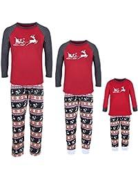 Christmas Family Pajamas Matching Sets Summer, Moose Long Sleeve Holiday Spring Sleepwear Sets