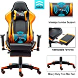 EDWELL Ergonomic Gaming Chair with Headrest and Lumbar Massage Support,Racing Style PC Computer Chair Height Adjustable Swivel with Retractable Footrest Executive Office Chair (Orange)