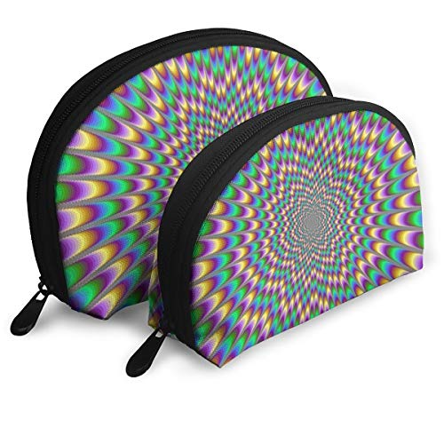 Makeup Bag Colorful Trippy Rainbow Portable Shell Storage Bag For Women Halloween Gift 2 Pack]()