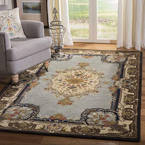 Safavieh Bergama Collection BRG141A Handmade Light Blue and Ivory Premium Wool Area Rug (4' x - 4' Collection Bergama