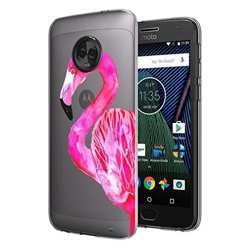 Moto G6 Plus UV Case Van Clear Transparent Slim Soft TPU UV Printing Protective Case for Moto G6 Plus Pretty Pink Flamingo]()