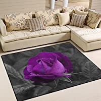 Naanle Floral Flower Area Rug 4x5, Purple Rose Polyester Area Rug Mat for Living Dining Dorm Room Bedroom Home Decorative
