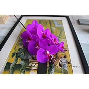 Artificial Orchid Orchids Artificial Flowers - Artificial Flowers Real Touch Artificial Moth Orchid Butterfly Orchid for new House Home Wedding Decoration - Orchid Artificial Flowers (Purple) 16