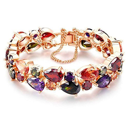 Amethyst Gold Jewelry Set - Hermosa Rose Gold Plated Multi Gemstones Sets Garnet Peridot Amethyst Morganite 8 Inch