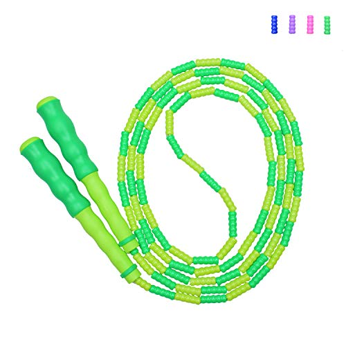 Jump Rope, Soft Beads Segment Jump Rope, Sporst-and-Fitness Rope for Kids, Men and Women, Adjustable Tangle-Free Jump Rope for Workout, Keeping Fit, Weight Loss and Training, 110 inch (Green)