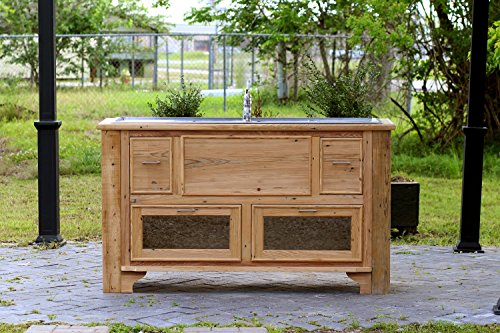 Double Sink Chest (Reclaimed Wood Island Stainless Steel Farm Sink Double Drainboard Sink Cypress Apothecary Chest Package)