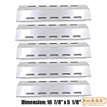 """Bar.b.q.s 30500701/30500097 (5-pack) Stainless Steel Heat Plate 16 7/8"""" * 5 1/8"""" Replacement for Select Ducane 5 Burner Gas Grill Models"""