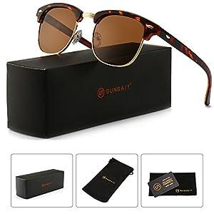 SUNGAIT 80s Sunglasses Retro Semi Rimless Clubmaster for Men Women (Amber Frame/Brown Lens) 3016 HPKC