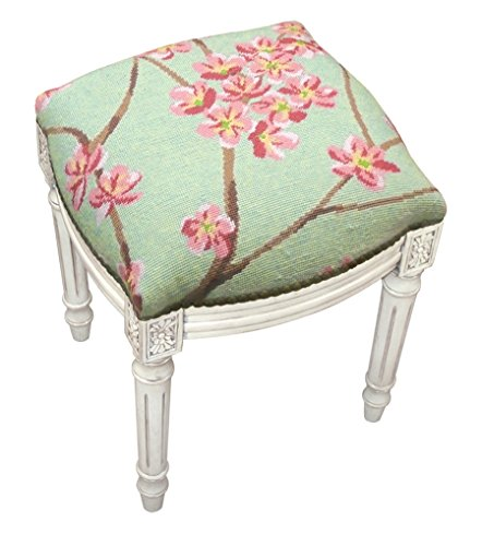 (KensingtonRow Home Collection Accent Stools - Flower Blossom Needlepoint Upholstered Stool - Vanity Seat - Green - Antique White Frame)