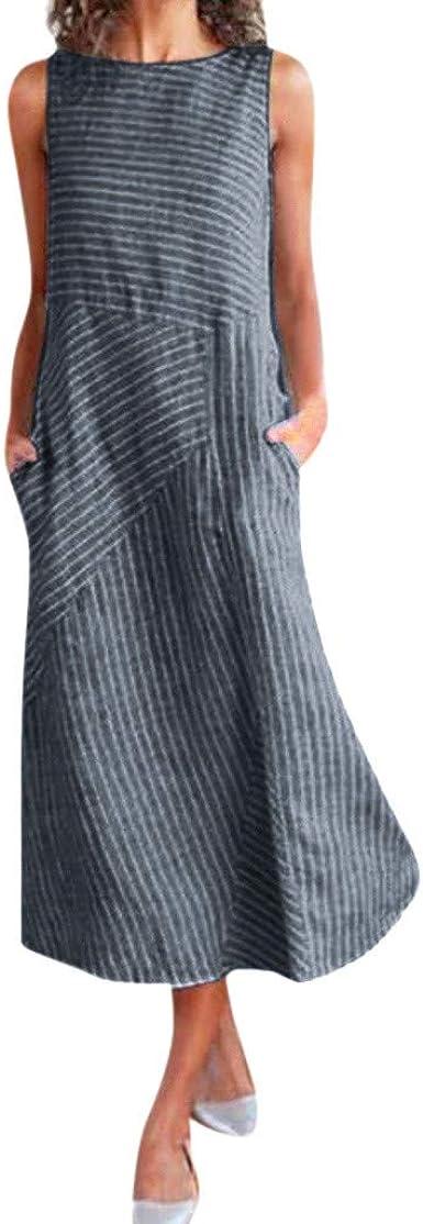 Fossen Vestidos Mujer Verano 2020 Largos Casual de Rayas Sin Mangas Sueltas Algodón y Lino - Vestido de Fiesta Elegantes de Playa Vacation Clásico Dress para Coctel Noche Chic: Amazon.es: Ropa y