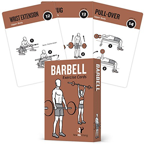 "NewMe Fitness Barbell Exercise Cards by Contains 50 Barbell Exercises – Total Body Workout– Perfect for Home Workouts – Your Personal Trainer – Large Durable Waterproof 3.5""x5"" Cards by NewMe Fitness"