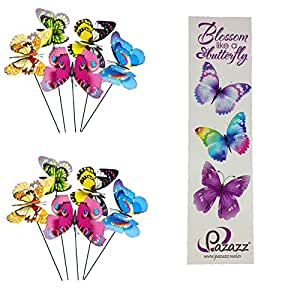 Pazazz® grande colorido doble mariposas con alas con mariposa marcador/12cm), diseño de mariposas sobre palos, jardín Patio flores boda decoración de mesa graves o funerales