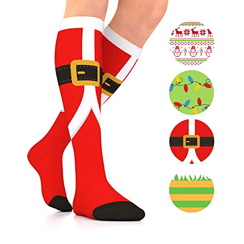 Go2Socks GO2 Holiday Compression Socks for Women Men Nurses Runners 15-20 mmHg (Medium) - Medical Stocking Maternity Travel - Best Performance Recovery Circulation Stamina (Santa, Medium)