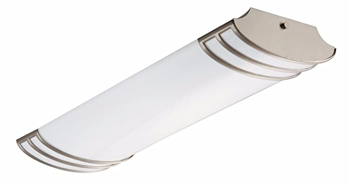 Lithonia Lighting Brushed Nickel 2-Ft Flush Mount Light for Kitchen | Attic | Basement | Home, 4000K, 25.8W, 2,180 Lumens