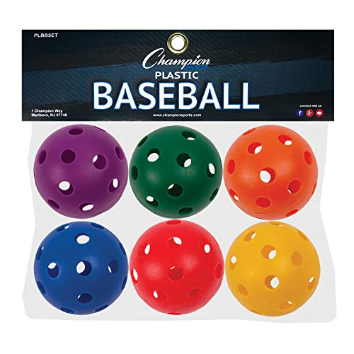 Champion Sports Plastic Baseball, Assorted Colors, Set of 6