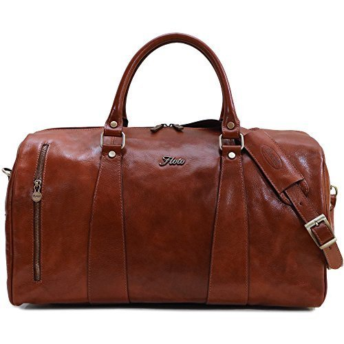 (Floto Collection Duffle Bag in Brown Italian Calfskin Leather)