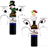 Christmas Santa and Snowman Wine Bottle and Glass Holder Holiday Decor Kitchen Accessories by Gift Boutique