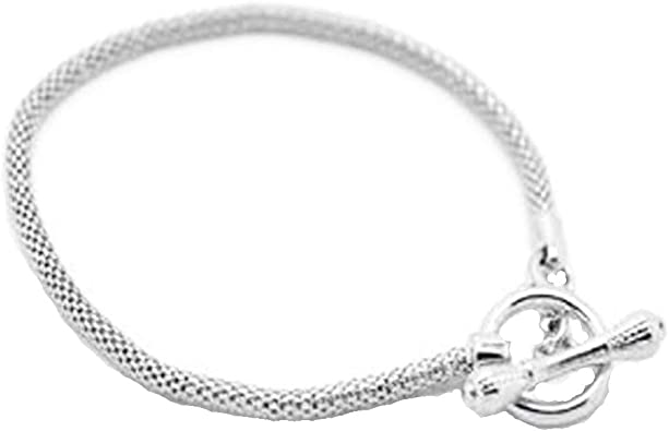 Sexy Sparkles Silver Tone Toggle Clasp European Charm Bracelet, Pandora  Charms and Beads Compatible 8.5inches