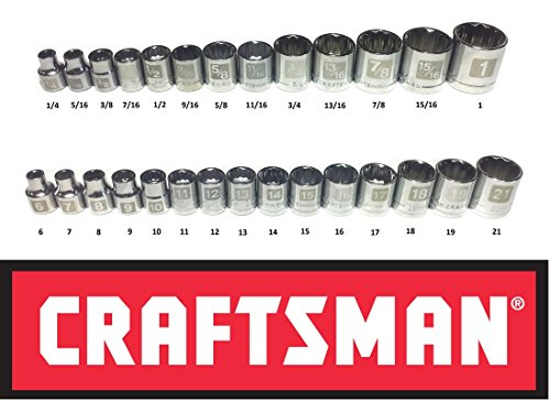 Craftsman Laser Etched Easy Read 28 Piece SAE Standard & Metric 3/8