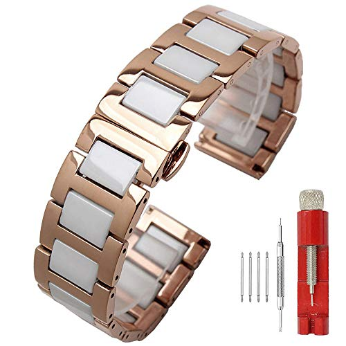 - Attractive Watch Band Rose Gold Metal Strap Watch Bands White Ceramic Links Secure Stainless Steel Bracelet Butterfly Clasp 16mm Ladies Watch Bracelet