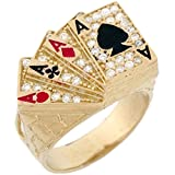 14k Solid Gold CZ Four of A Kind Poker Cards Enamel Lucky Mens Ring