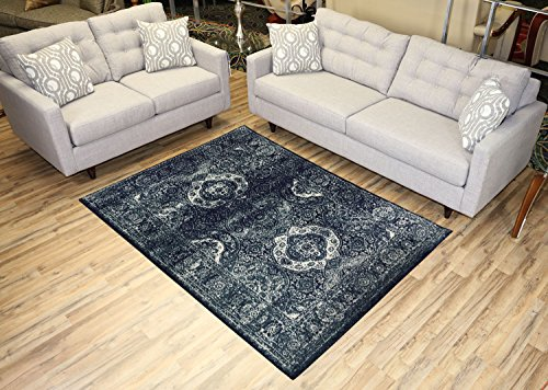 - Studio Collection Vintage French Aubusson Design Contemporary Modern Area Rug Rugs 3 Different Color Options (Aubusson Navy Blue, 5 x 7)