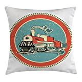 Steam Engine Throw Pillow Cushion Cover by Ambesonne, Vintage Style Orange and Blue Banner Train Transportation Retro Old, Decorative Square Accent Pillow Case, 36 X 36 Inches, Turquoise Salmon Ivory