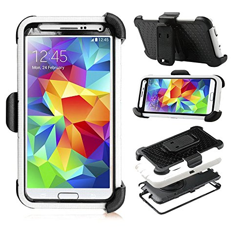 S5 Case , Galaxy S5 Case, I9600 Case, Yyue Ultra Shock&drop-proof Amy-grade Protective Hard Defender Case and Three Layer Hard Shell Cover Holster with 360 Degree Rotating Ring Bracket Protective Case for Samsung Galaxy S5 I9600 -- TPU Rubber & Silicone Case with Stand & Clip for Samsung Galaxy S5 I9600 --White