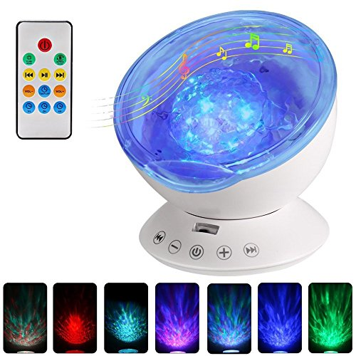 Remote Ocean Night Light Projector with Music and Timer Baby Rotating Projection Night Lamp White for Kids Friends Party Nursery Bedroom [12 LEDS,7 Colors] For Sale