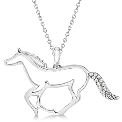 Amazon horse pendant necklace with diamond accents sterling horse pendant necklace with diamond accents sterling silver 004ct aloadofball Choice Image