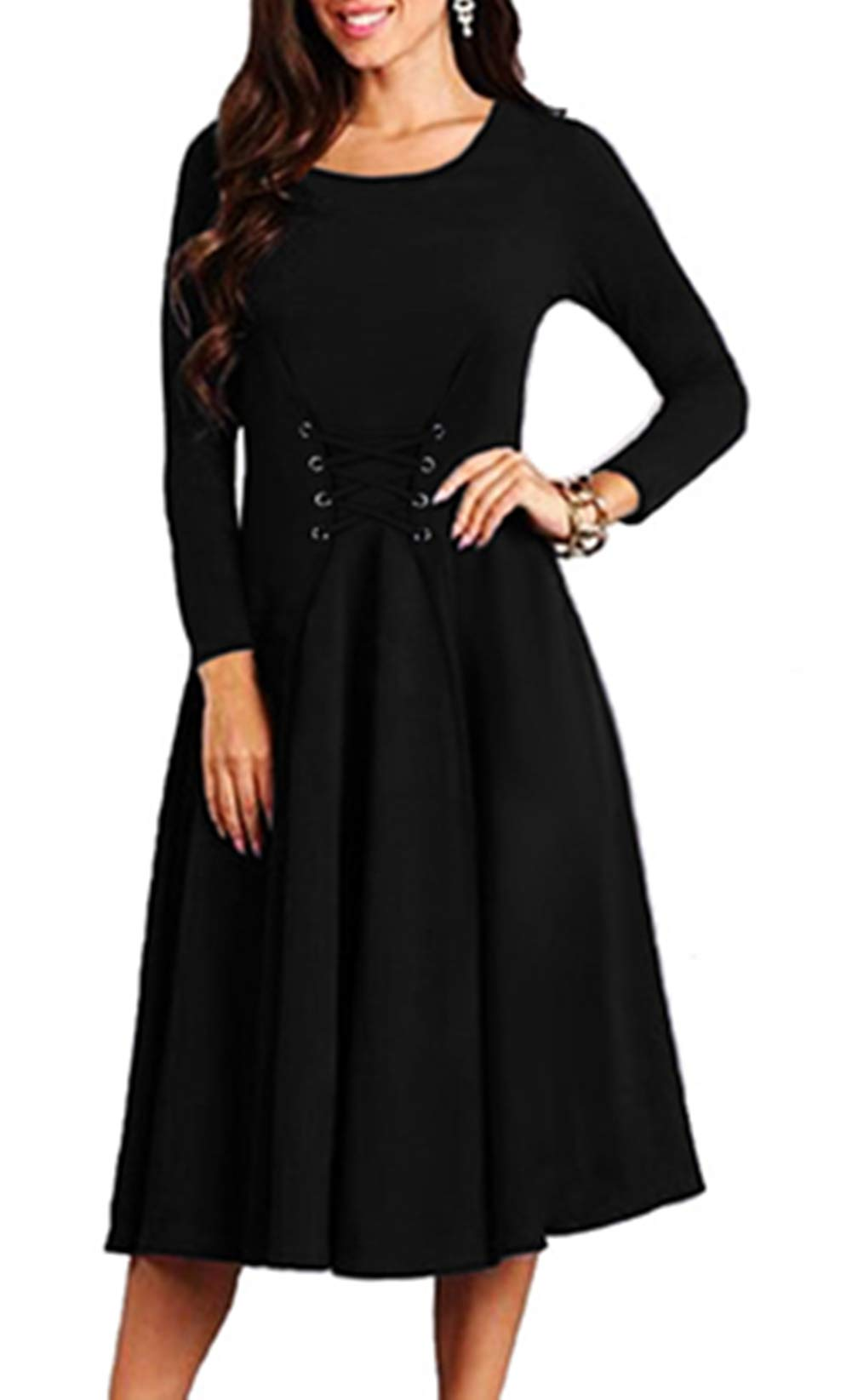 YANDW Women Casual Lace up Corset Dress Cotton Knit Long Sleeve Round Neck Solid Outfit