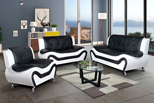 Sofa Leather Faux Loveseat (3PC Sofa Set, AYCP Furniture 3 Piece Contemporary Living Room Sofa Set, Sofa/Loveseat/Chair, Faux Leather Upholstery Material, Multiple Colors, Suitable for Any Home décor, youPick-wePack)