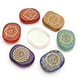 JOVIVI Chakra Stones-Reiki Healing Crystals With Engraved Chakra Symbols Holistic Balancing Polished Palm Stones Set of 7
